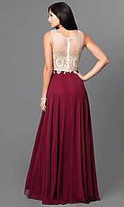 Image of formal long prom dress with lace-applique bodice. Style: NA-8252 Back Image