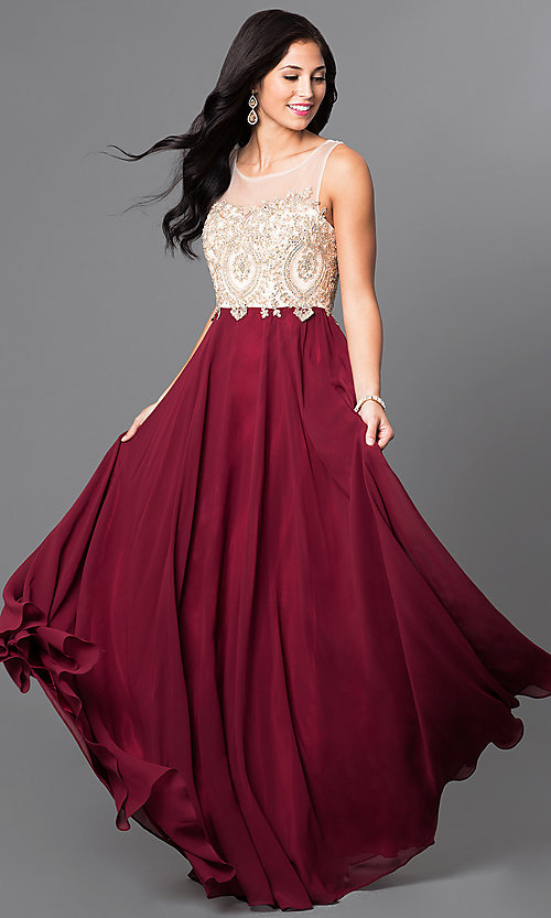 Image of formal long prom dress with lace-applique bodice. Style: NA-8252 Front Image