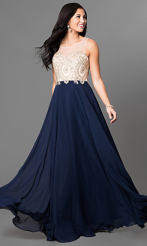 Image of formal long prom dress with lace-applique bodice. Style: NA-8252 Detail Image 1