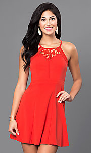 Image of red short casual party dress with scoop neckline. Style: INA-IDA70227 Front Image
