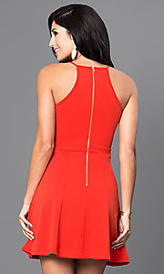 Image of red short casual party dress with scoop neckline. Style: INA-IDA70227 Back Image