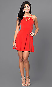 Image of red short casual party dress with scoop neckline. Style: INA-IDA70227 Detail Image 1