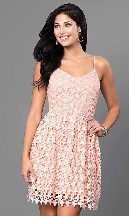 Image of short spaghetti-strap v-neck lace party dress. Style: INA-IDA70586 Front Image