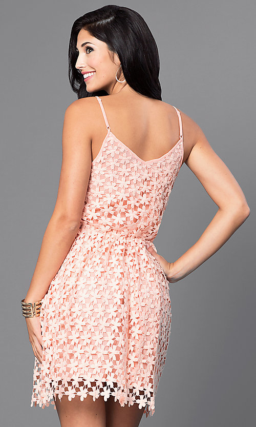 Image of short spaghetti-strap v-neck lace party dress. Style: INA-IDA70586 Back Image