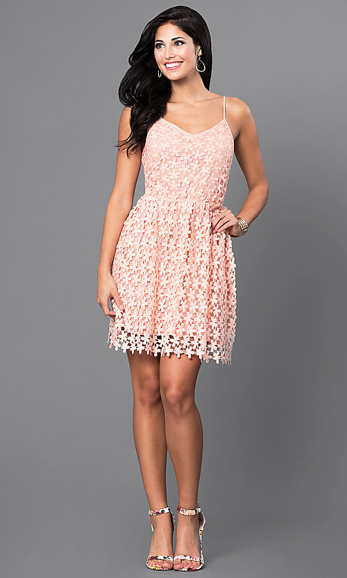 Image of short spaghetti-strap v-neck lace party dress. Style: INA-IDA70586 Detail Image 1