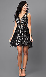 Image of short sleeveless v-neck black lace homecoming dress. Style: INA-IDA70930 Detail Image 1