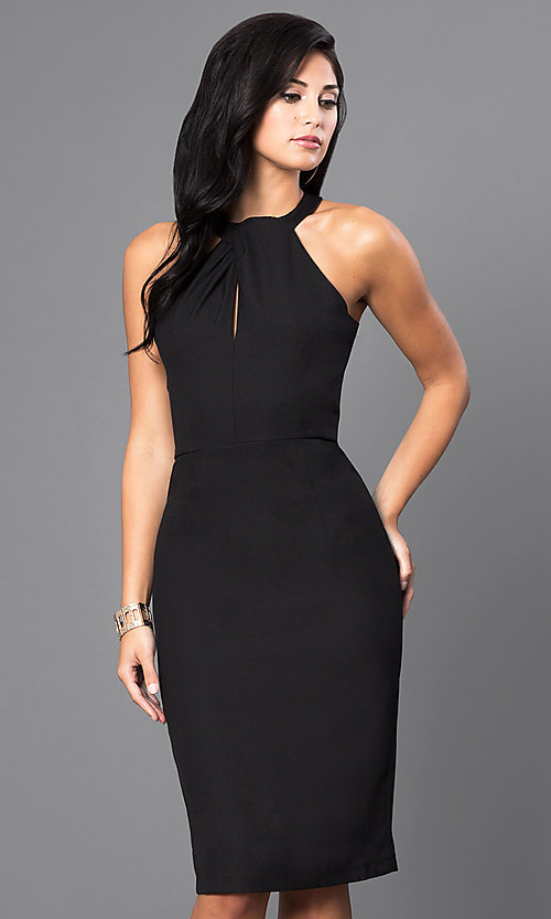 Image of inexpensive knee-length sleeveless party dress. Style: INA-IDA70230 Front Image