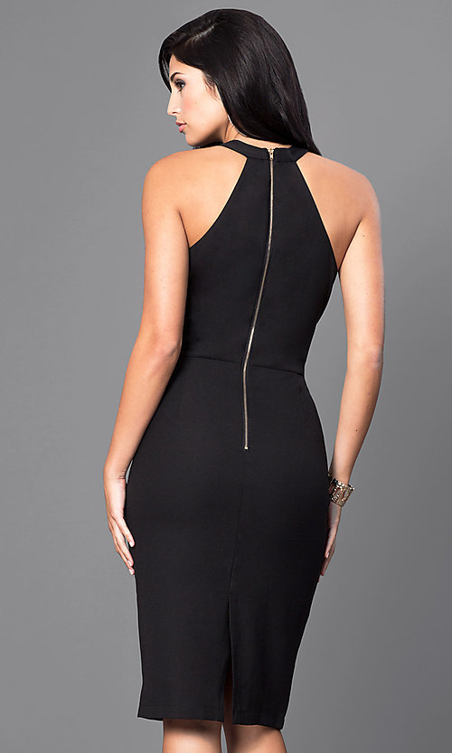 Image of inexpensive knee-length sleeveless party dress. Style: INA-IDA70230 Back Image