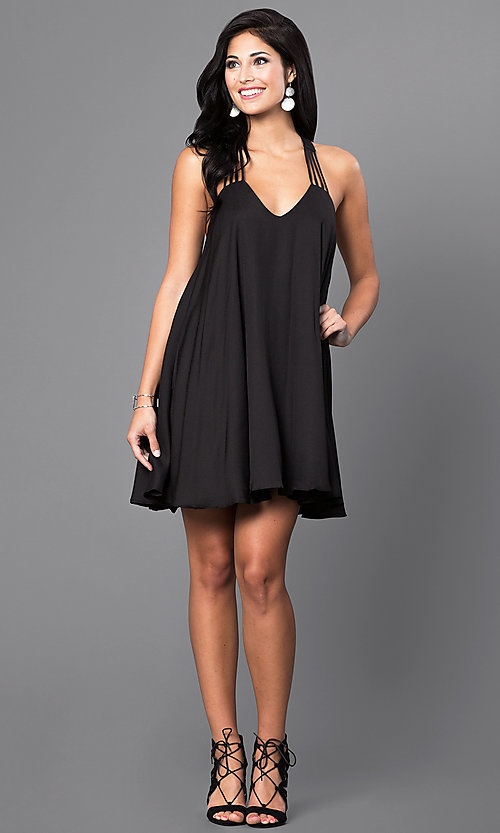 Image of short sleeveless v-neck shift party dress. Style: INA-ID9464 Detail Image 1