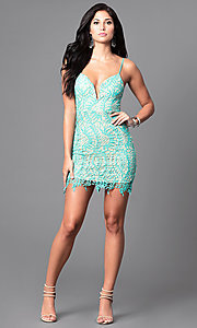 Image of spaghetti-strap lace mini homecoming party dress. Style: LUX-LD3026 Detail Image 1
