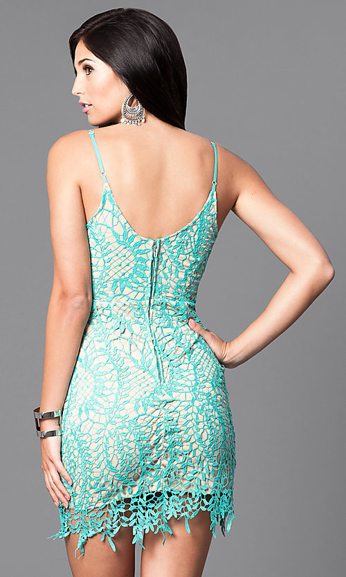 Image of spaghetti-strap lace mini homecoming party dress. Style: LUX-LD3026 Back Image