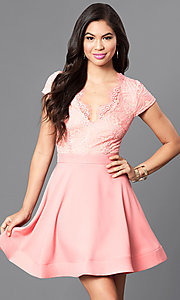 Image of short-sleeve v-neck lace-bodice homecoming dress. Style: LUX-LD3045 Front Image