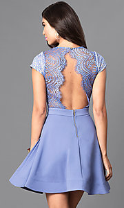 Image of short-sleeve v-neck lace-bodice homecoming dress. Style: LUX-LD3045 Back Image