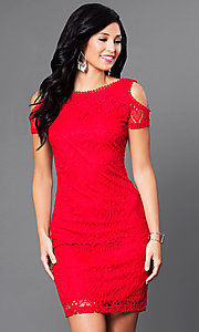 Short Lace Cold-Shoulder Scoop-Back Red Party Dress