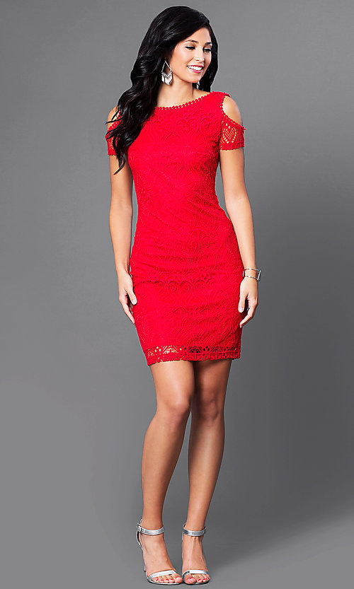 Image of short lace cold-shoulder scoop-back red party dress. Style: MD-D14611WAO Detail Image 1