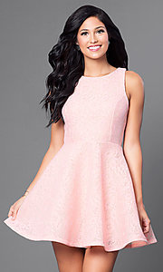 Image of short lace a-line pink party dress. Style: JTM-JD7101 Front Image