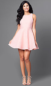 Image of short lace a-line pink party dress. Style: JTM-JD7101 Detail Image 1