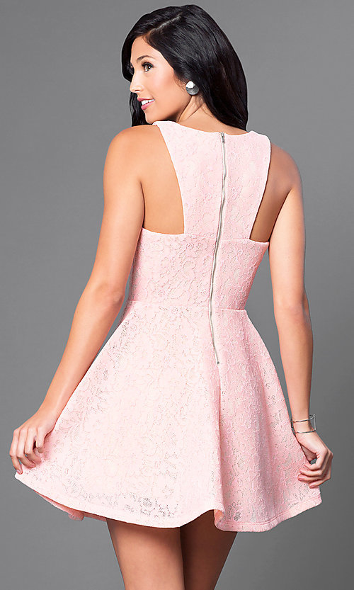 Image of short lace a-line pink party dress. Style: JTM-JD7101 Back Image