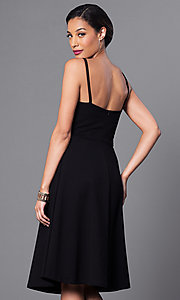 Image of spaghetti-strap v-neck semi-formal party dress. Style: JTM-JD6996 Back Image
