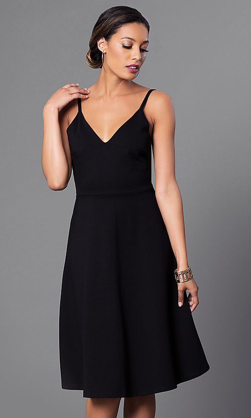 Image of spaghetti-strap v-neck semi-formal party dress. Style: JTM-JD6996 Detail Image 1
