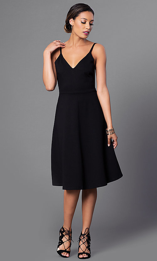 Image of spaghetti-strap v-neck semi-formal party dress. Style: JTM-JD6996 Detail Image 2