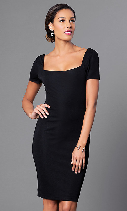 Image of short-sleeve square-neck semi-formal dress. Style: JTM-JD4651 Detail Image 1