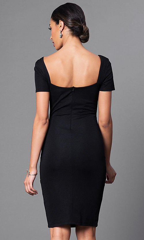 Image of short-sleeve square-neck semi-formal dress. Style: JTM-JD4651 Back Image