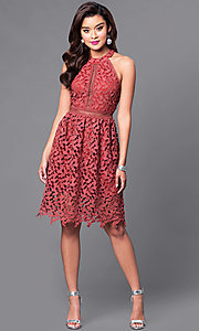 Image of short cut-out lace party dress with high neck. Style: JTM-JMD6969 Detail Image 1
