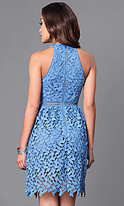 Image of short cut-out lace party dress with high neck. Style: JTM-JMD6969 Back Image