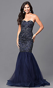 Long Navy Blue Prom Dress
