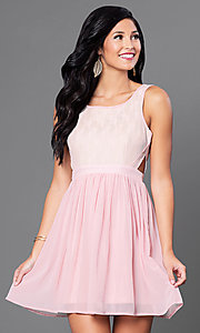 Lace-Bodice Short Homecoming Dress with Side Cut Outs