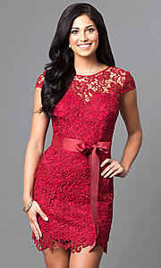Image of embroidered lace cap-sleeve party dress. Style: LP-23605 Detail Image 3