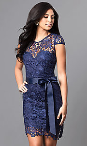 Embroidered Lace Cap-Sleeve Party Dress