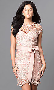 Image of embroidered lace cap-sleeve party dress. Style: LP-23605 Detail Image 1
