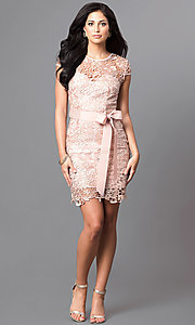 Image of embroidered lace cap-sleeve party dress. Style: LP-23605 Detail Image 2