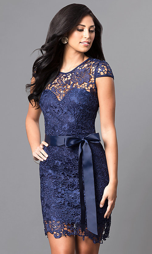 Image of embroidered lace cap-sleeve party dress. Style: LP-23605 Front Image