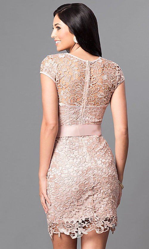 Image of embroidered lace cap-sleeve party dress. Style: LP-23605 Back Image
