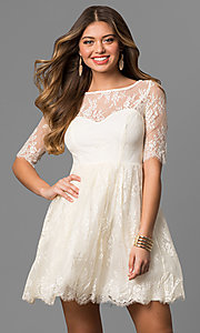 Image of short lace homecoming dress with half sleeves. Style: LP-24081 Front Image