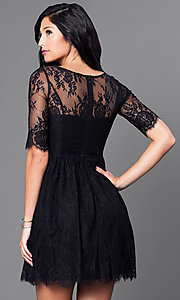 Image of short lace homecoming dress with half sleeves. Style: LP-24081 Back Image