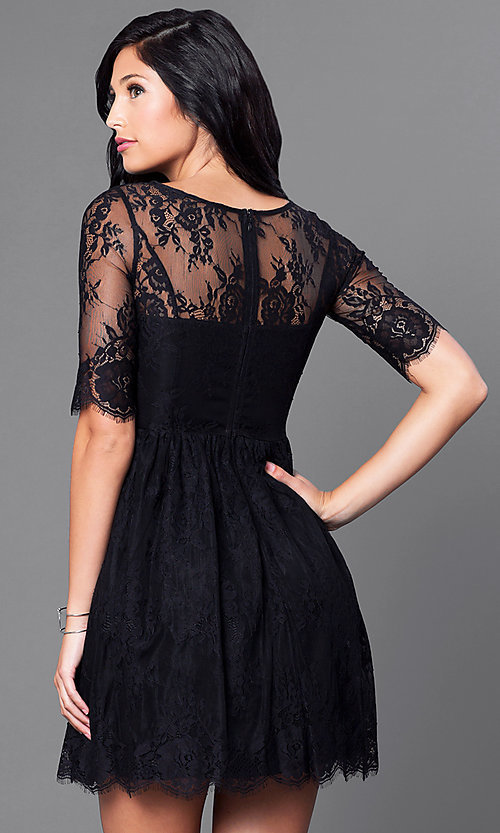 Cheap Lace Half-Sleeve Short Party Dress - PromGirl