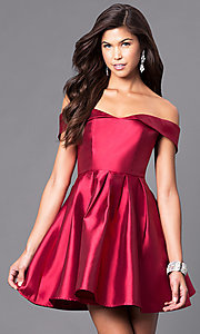 Satin Off-the-Shoulder Short Homecoming Party Dress