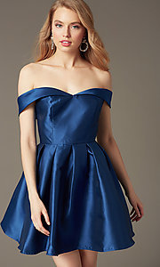 Image of satin off-the-shoulder short homecoming party dress. Style: LP-24049 Front Image