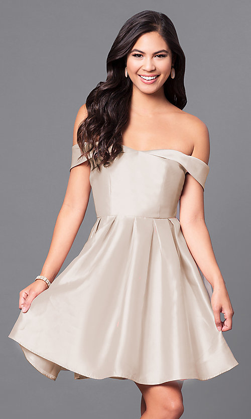 Image of satin off-the-shoulder short homecoming party dress. Style: LP-24049 Detail Image 4