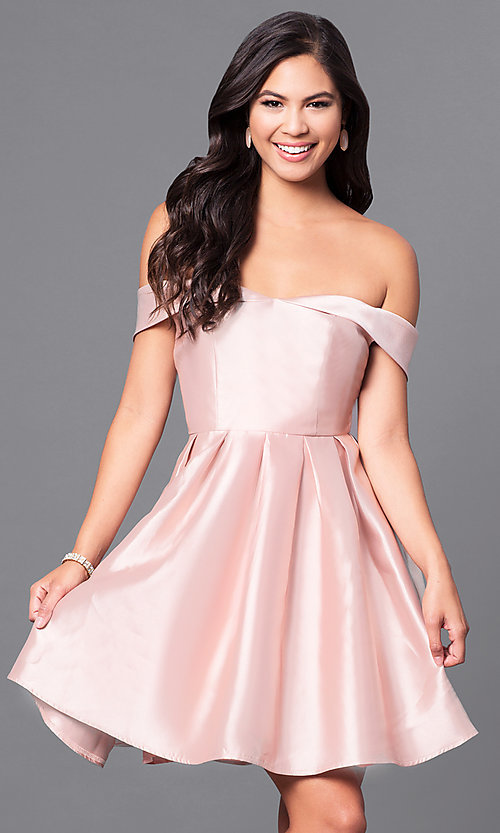 Image of satin off-the-shoulder short homecoming party dress. Style: LP-24049 Detail Image 3