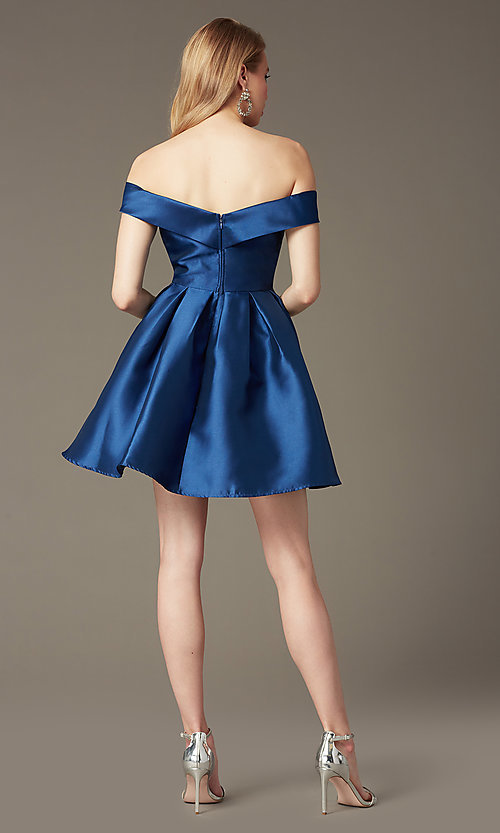 Image of satin off-the-shoulder short homecoming party dress. Style: LP-24049 Back Image