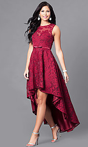 High-Low Lace Sleeveless Semi-Formal Dress