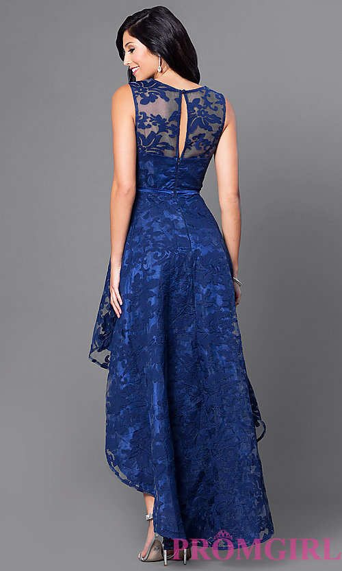 Image of high-low lace sleeveless semi-formal dress. Style: LP-24056 Back Image