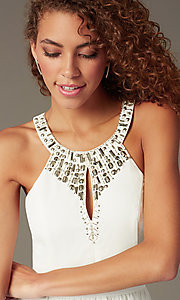 Image of high-neck beaded keyhole-bodice homecoming dress. Style: LP-23701 Detail Image 1