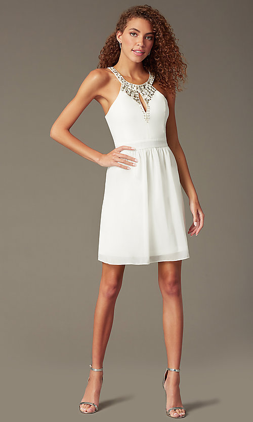 Image of high-neck beaded keyhole-bodice homecoming dress. Style: LP-23701 Front Image