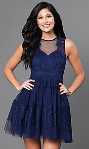 Image of navy blue short homecoming party dress with lace. Style: LP-23809 Front Image